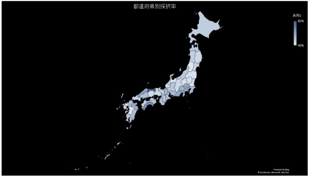 第7次ものづくり補助金 都道府県別採択率を色の濃さで表した地図